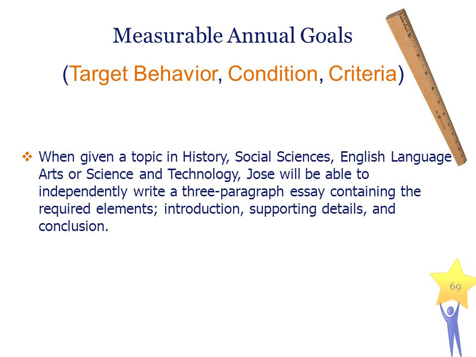 Measurable Annual Goals (Target Behavior, Condition, Criteria) 69  When given a topic in History, Social Sciences, English Language Arts or Science and Technology, Jose will be able to independently write a three-paragraph essay containing the required elements; introduction, supporting details, and conclusion.