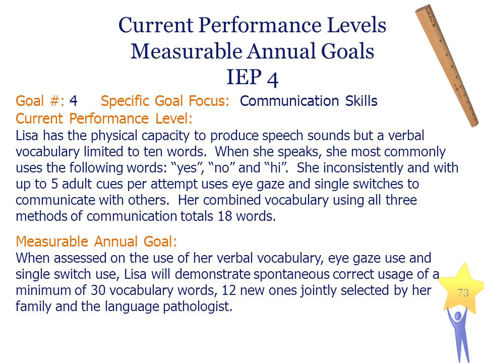 Goal #: 4 Specific Goal Focus: Communication Skills Current Performance Level: Lisa has the physical capacity to produce speech sounds but a verbal vocabulary limited to ten words.