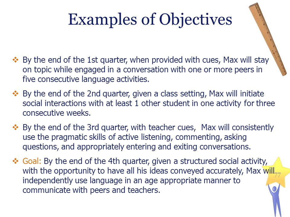  By the end of the 1st quarter, when provided with cues, Max will stay on topic while engaged in a conversation with one or more peers in five consecutive language activities.