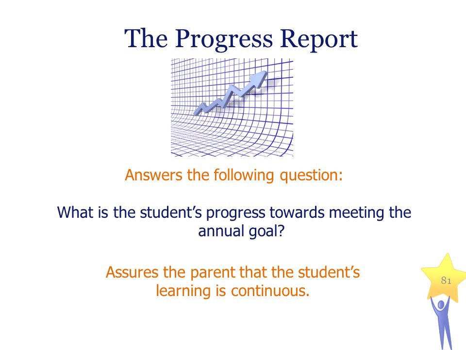 Answers the following question: What is the student's progress towards meeting the annual goal.
