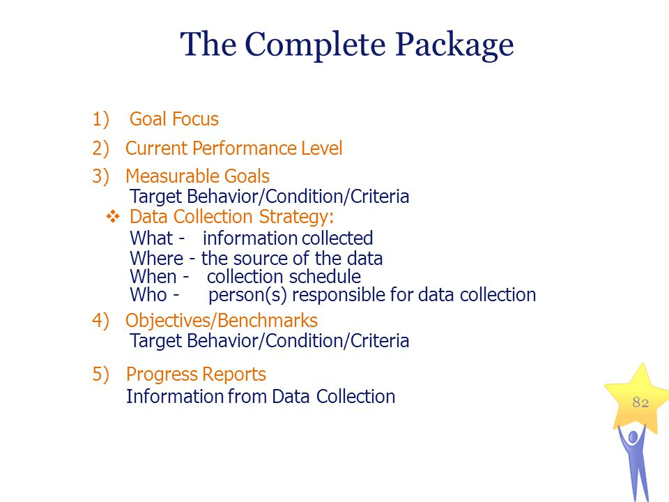1)Goal Focus 2)Current Performance Level 3)Measurable Goals Target Behavior/Condition/Criteria  Data Collection Strategy: What - information collected Where - the source of the data When - collection schedule Who - person(s) responsible for data collection 4)Objectives/Benchmarks Target Behavior/Condition/Criteria 5)Progress Reports Information from Data Collection 82 The Complete Package