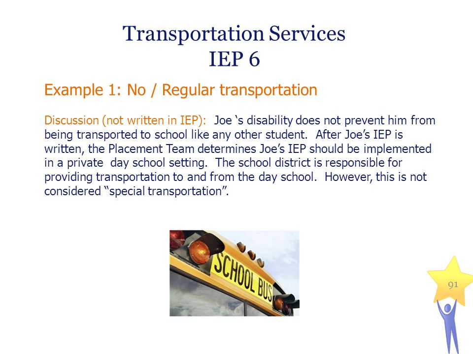 Example 1: No / Regular transportation Discussion (not written in IEP): Joe 's disability does not prevent him from being transported to school like a