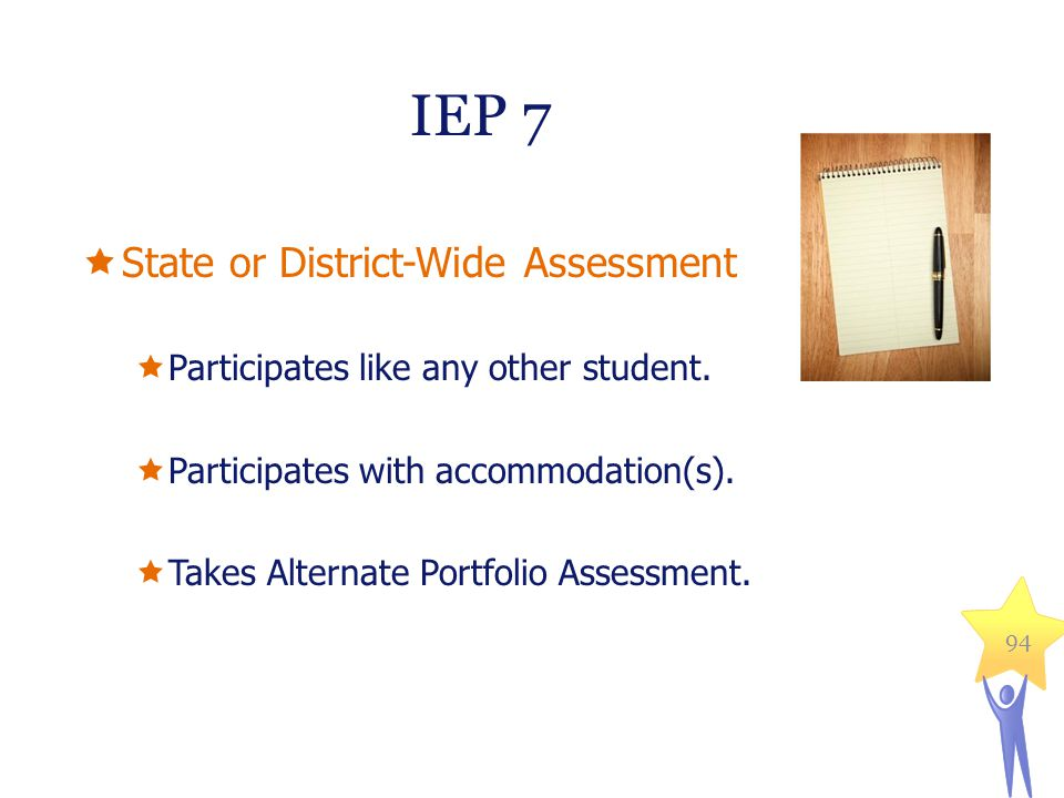  State or District-Wide Assessment  Participates like any other student.