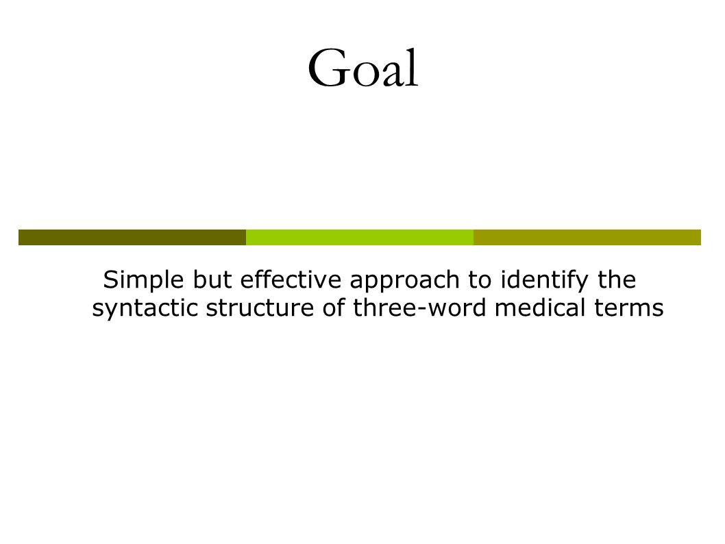 Goal Simple but effective approach to identify the syntactic structure of three-word medical terms