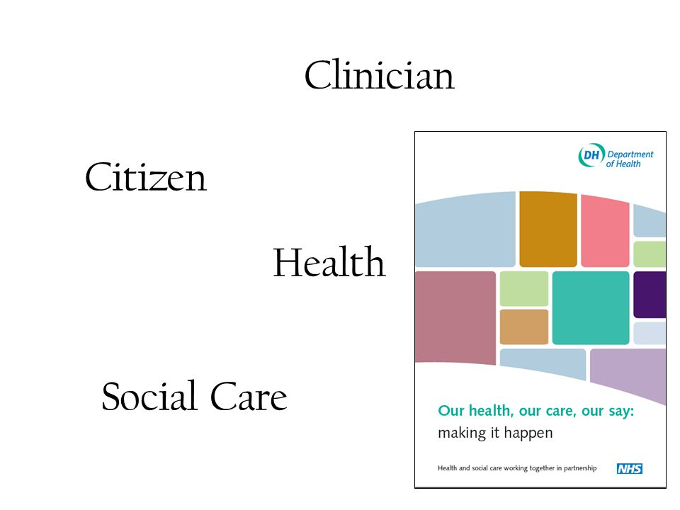 Citizens Needs The distinction between citizen and patient is artificial There are only met and unmet needs A credible health society should focus on meeting the needs of its citizens A credible citizen should be an active partner in this process Health, social care and education records are currently artificially separated if the focus is on meeting unmet needs
