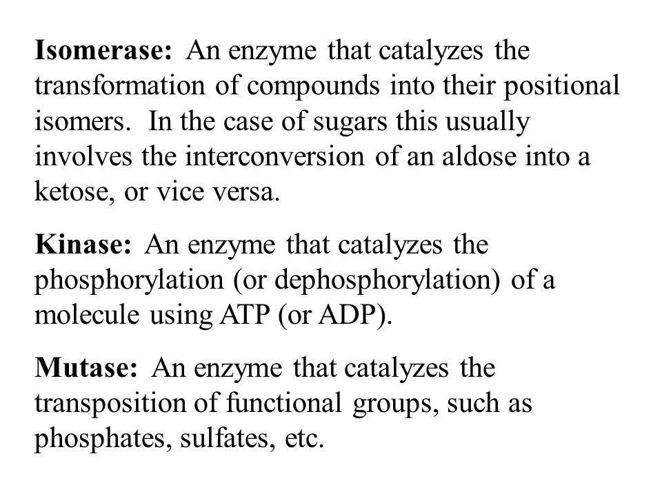 Isomerase: An enzyme that catalyzes the transformation of compounds into their positional isomers. In the case of sugars this usually involves the int