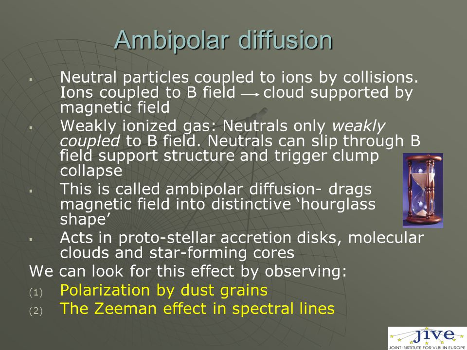 Ambipolar diffusion   Neutral particles coupled to ions by collisions.