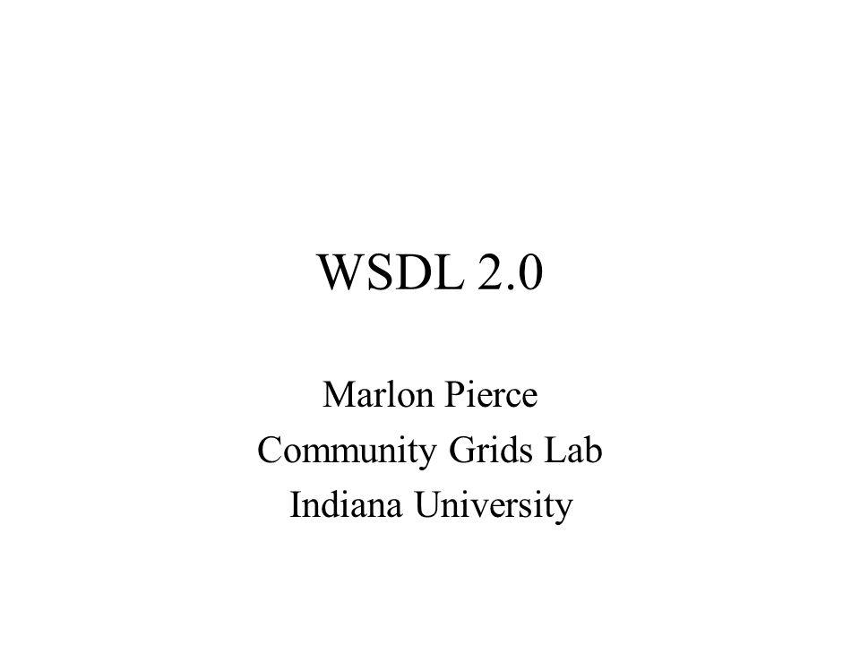 WSDL 2.0 Marlon Pierce Community Grids Lab Indiana University