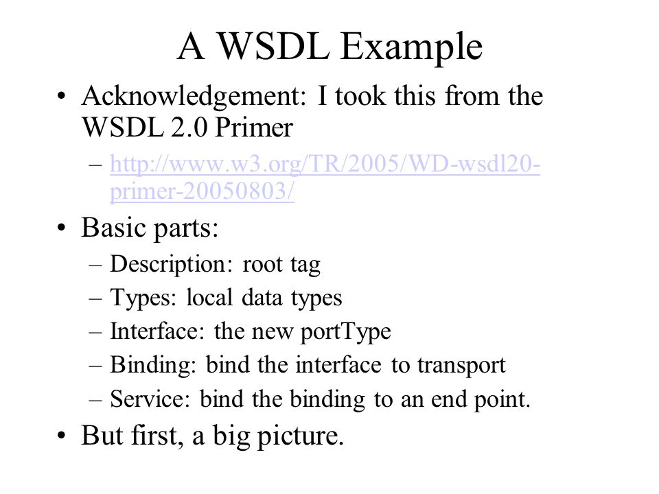 WSDL 2.0 InfoSet Diagram http://www.w3.org/TR/2005/WD-wsdl20-primer-20050803/ No more is now