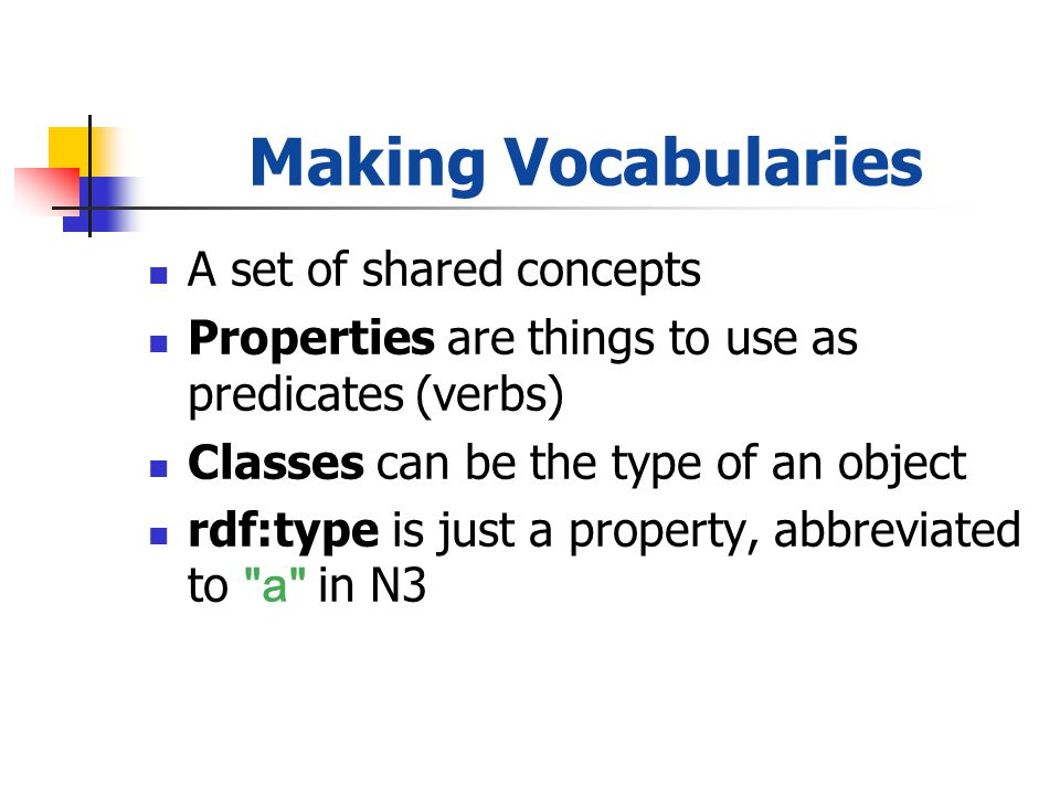 Making Vocabularies A set of shared concepts Properties are things to use as predicates (verbs) Classes can be the type of an object rdf:type is just