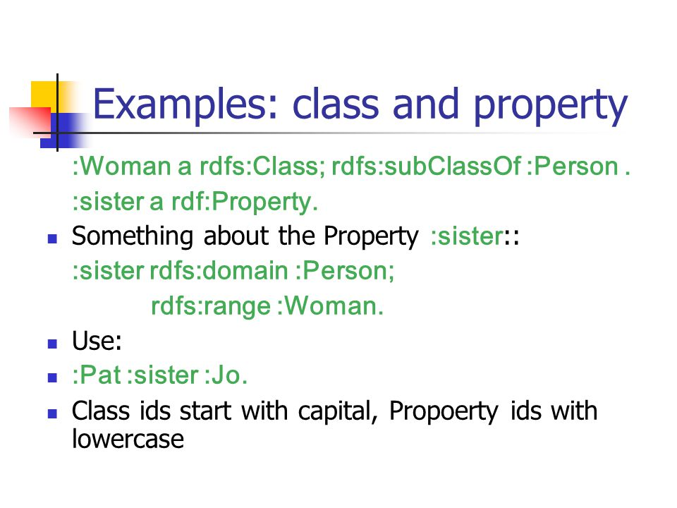 Examples: class and property :Woman a rdfs:Class; rdfs:subClassOf :Person.