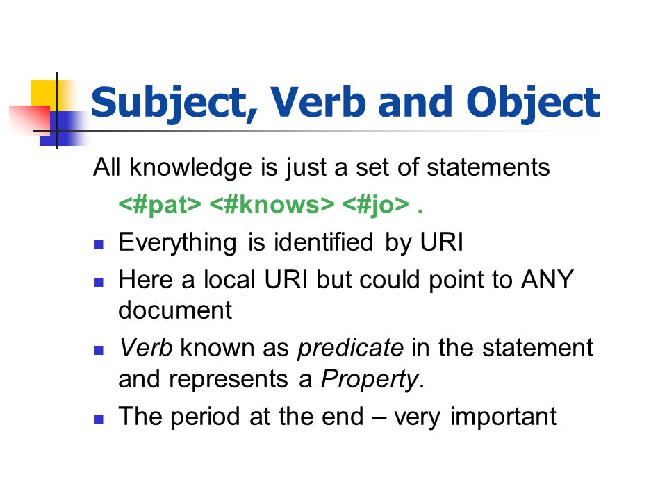 Subject, Verb and Object All knowledge is just a set of statements.