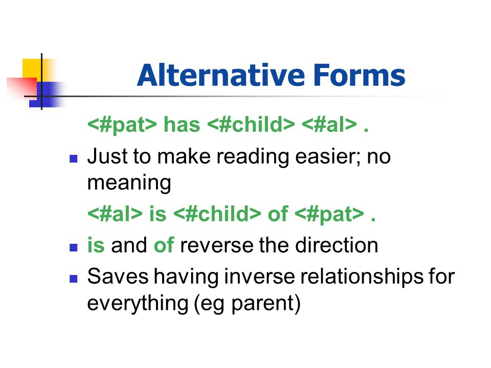 Alternative Forms has. Just to make reading easier; no meaning is of. is and of reverse the direction Saves having inverse relationships for everythin