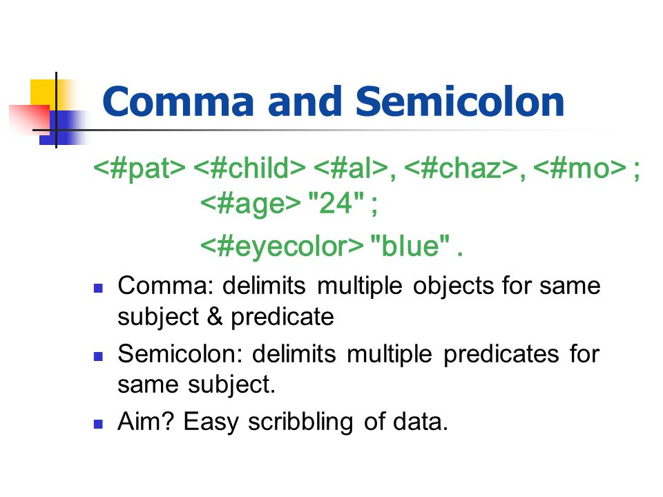 Comma and Semicolon,, ; 24 ; blue .