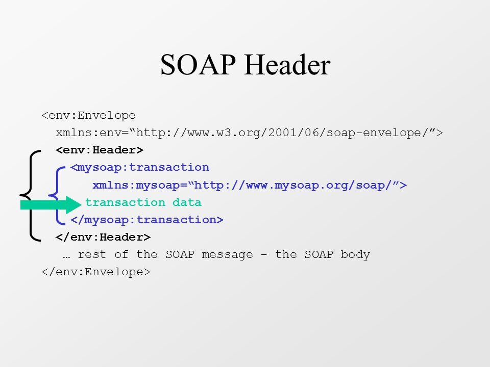 SOAP Body - Request RPC mechanism: method invocation <env:Envelope xmlns:env= http://www.w3.org/2001/06/soap-envelope/ > <mysoap:getBalance xmlns:mysoap= http://www.mysoap.org/soap/financial/ env:encodingStyle= http://www.w3.org/2001/06/soap-encoding > 567-89-0123