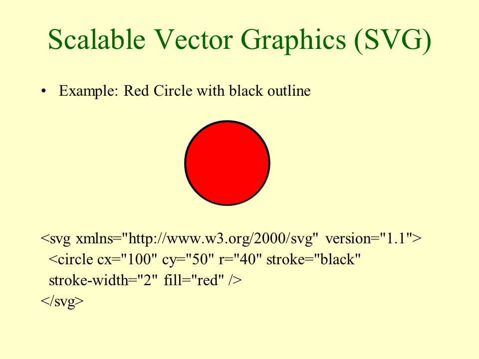 Scalable Vector Graphics (SVG) Example: Red Circle with black outline <circle cx= 100 cy= 50 r= 40 stroke= black stroke-width= 2 fill= red /> Svg tags