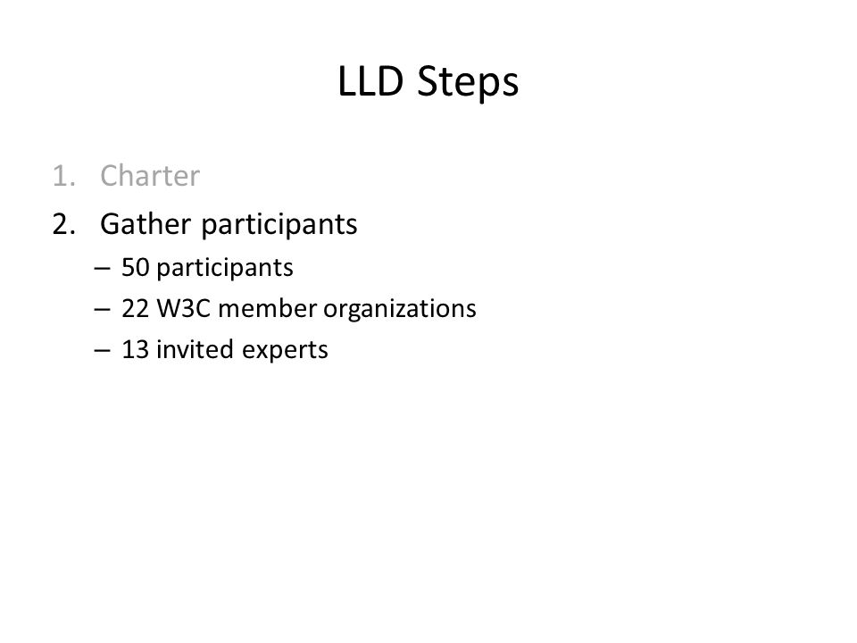LLD Steps 1.Charter 2.Gather participants – 50 participants – 22 W3C member organizations – 13 invited experts