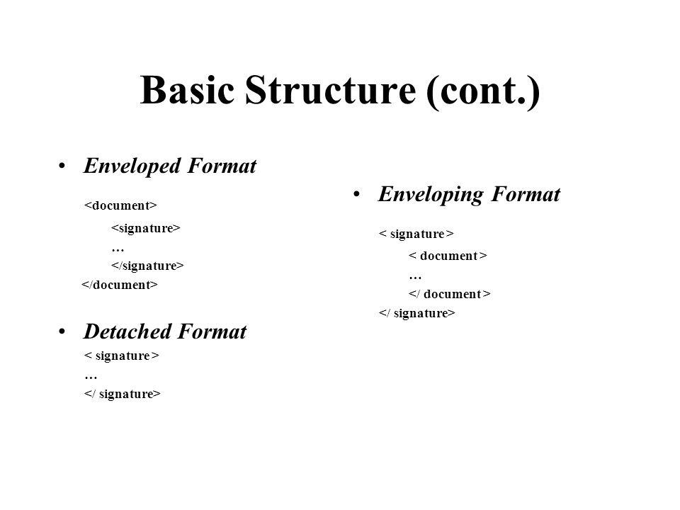 Basic Structure (cont.) Enveloped Format … Detached Format … Enveloping Format …