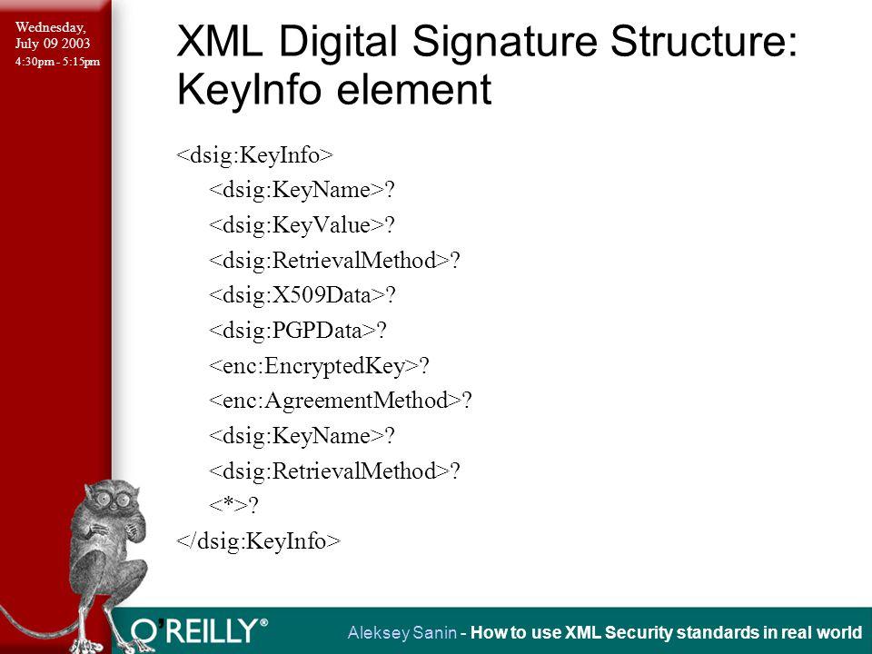 Wednesday, July 09 2003 4:30pm - 5:15pm Aleksey Sanin - How to use XML Security standards in real world XML Security Library: Signature Example int sign_template(xmlDocPtr tmpl, xmlNodePtr startNode, xmlSecKeyPtr key) { xmlSecDSigCtxPtr dsigCtx; /* create signature context w/o keys manager */ dsigCtx = xmlSecDSigCtxCreate(NULL); if(dsigCtx == NULL) { fprintf(stderr, Error: failed to create context.\n ); return(-1); } /* set signature key in the context */ dsigCtx->signKey = xmlSecKeyDuplicate(key); if(dsigCtx->signKey == NULL) { fprintf(stderr, Error: failed to duplicate key.\n ); xmlSecDSigCtxDestroy(dsigCtx); return(-1); }