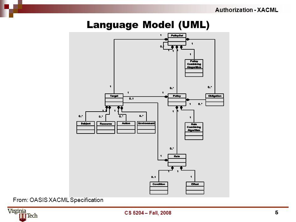 Authorization - XACML CS 5204 – Fall, 20085 Language Model (UML) From: OASIS XACML Specification