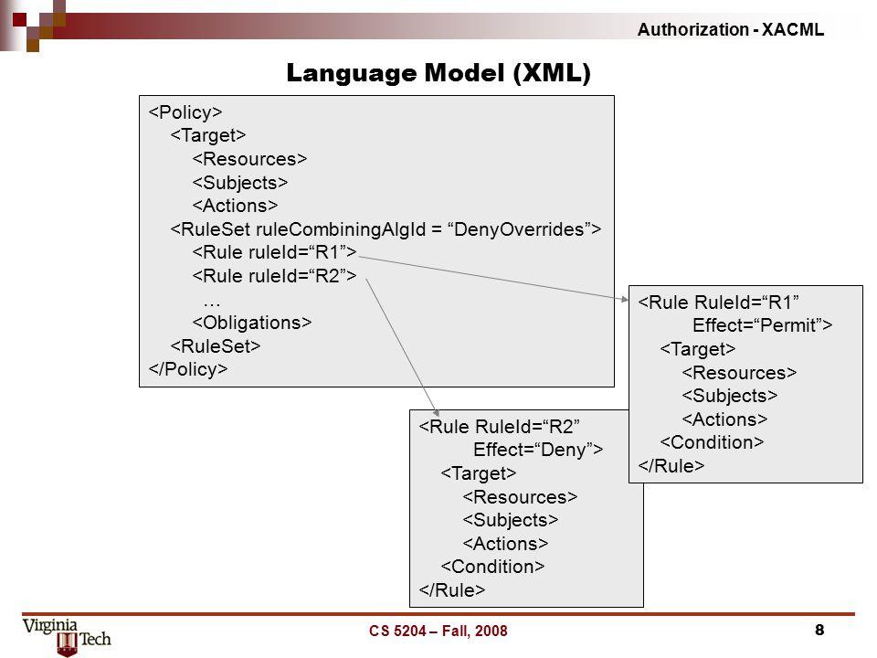 Authorization - XACML CS 5204 – Fall, 20088 Language Model (XML) …