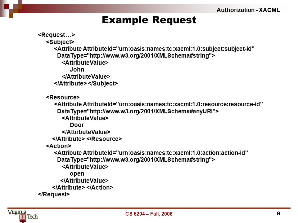 Authorization - XACML CS 5204 – Fall, 20089 Example Request <Attribute AttributeId= urn:oasis:names:tc:xacml:1.0:subject:subject-id DataType= http://www.w3.org/2001/XMLSchema#string > John <Attribute AttributeId= urn:oasis:names:tc:xacml:1.0:resource:resource-id DataType= http://www.w3.org/2001/XMLSchema#anyURI > Door <Attribute AttributeId= urn:oasis:names:tc:xacml:1.0:action:action-id DataType= http://www.w3.org/2001/XMLSchema#string > open