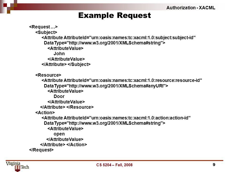 Authorization - XACML CS 5204 – Fall, 20089 Example Request <Attribute AttributeId=