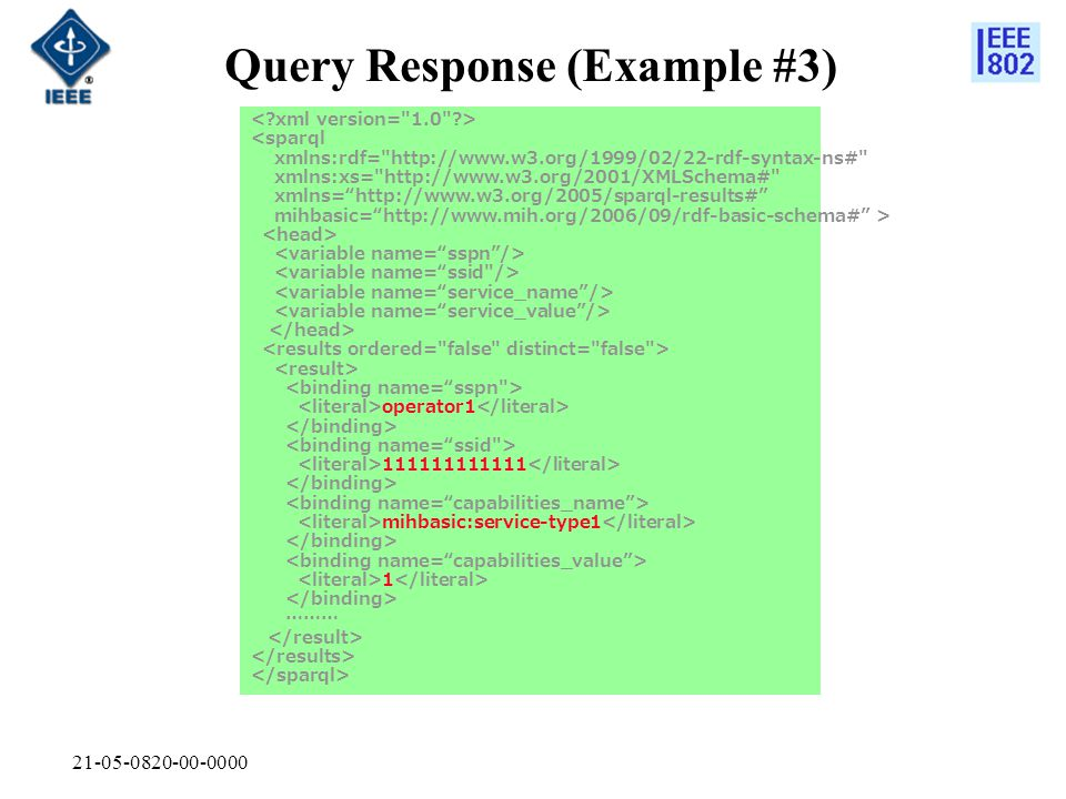 21-05-0820-00-0000 Query Response (Example #3) <sparql xmlns:rdf= http://www.w3.org/1999/02/22-rdf-syntax-ns# xmlns:xs= http://www.w3.org/2001/XMLSchema# xmlns= http://www.w3.org/2005/sparql-results# mihbasic= http://www.mih.org/2006/09/rdf-basic-schema# > operator1 111111111111 mihbasic:service-type1 1 ………