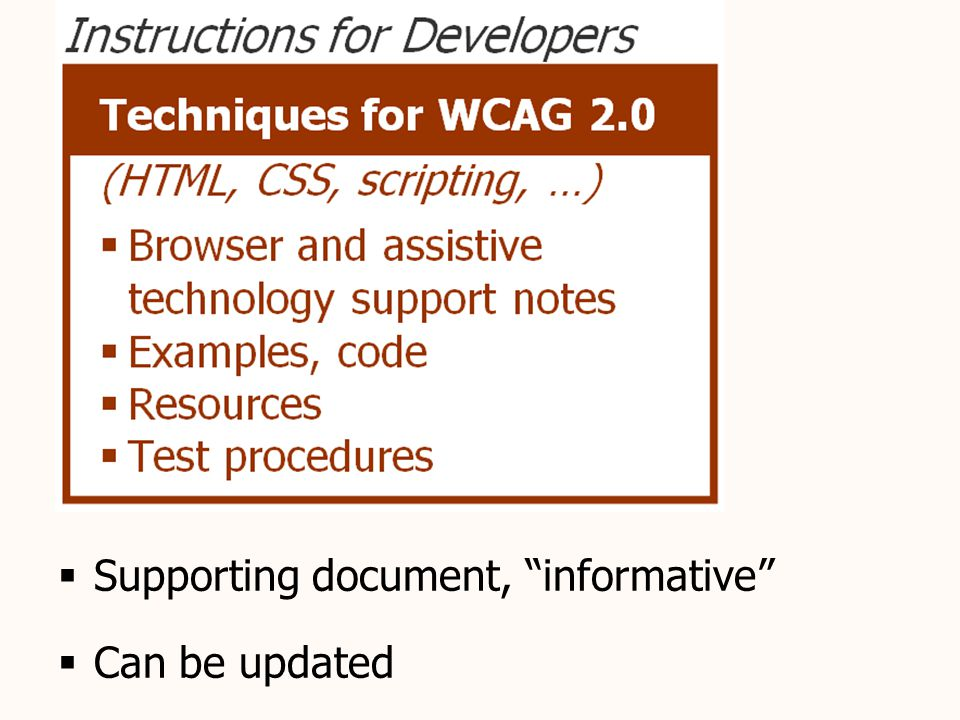 Techniques document  Supporting document, informative  Can be updated
