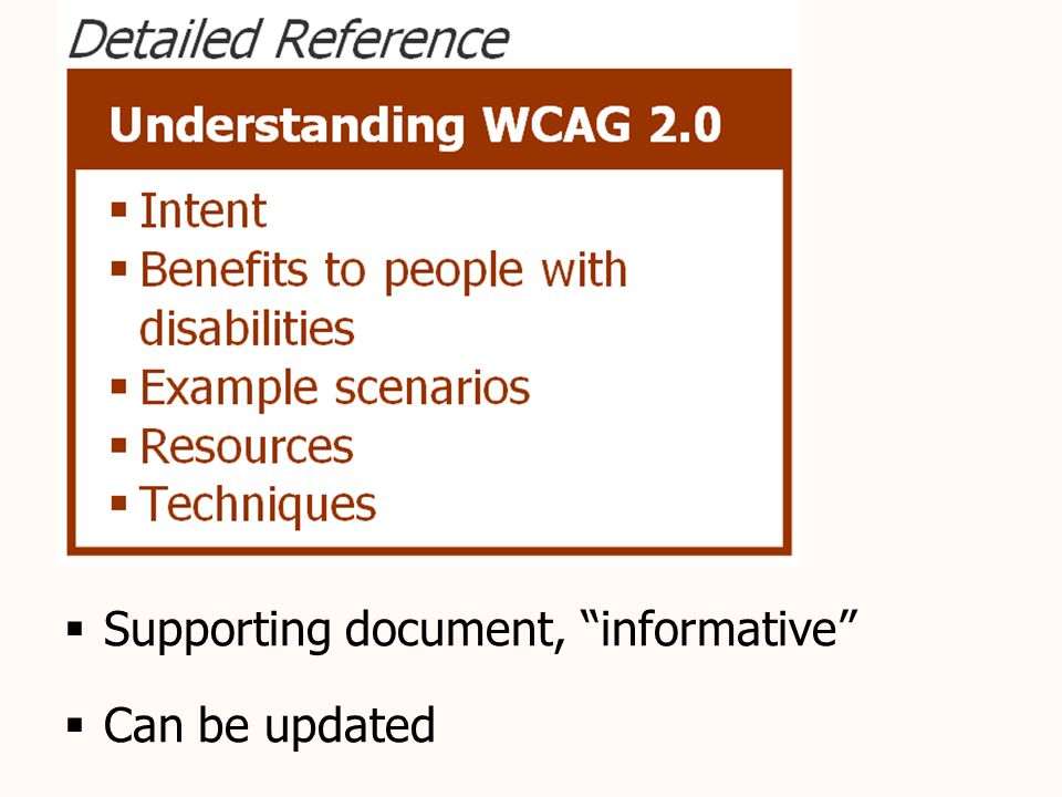 Understanding document  Supporting document, informative  Can be updated