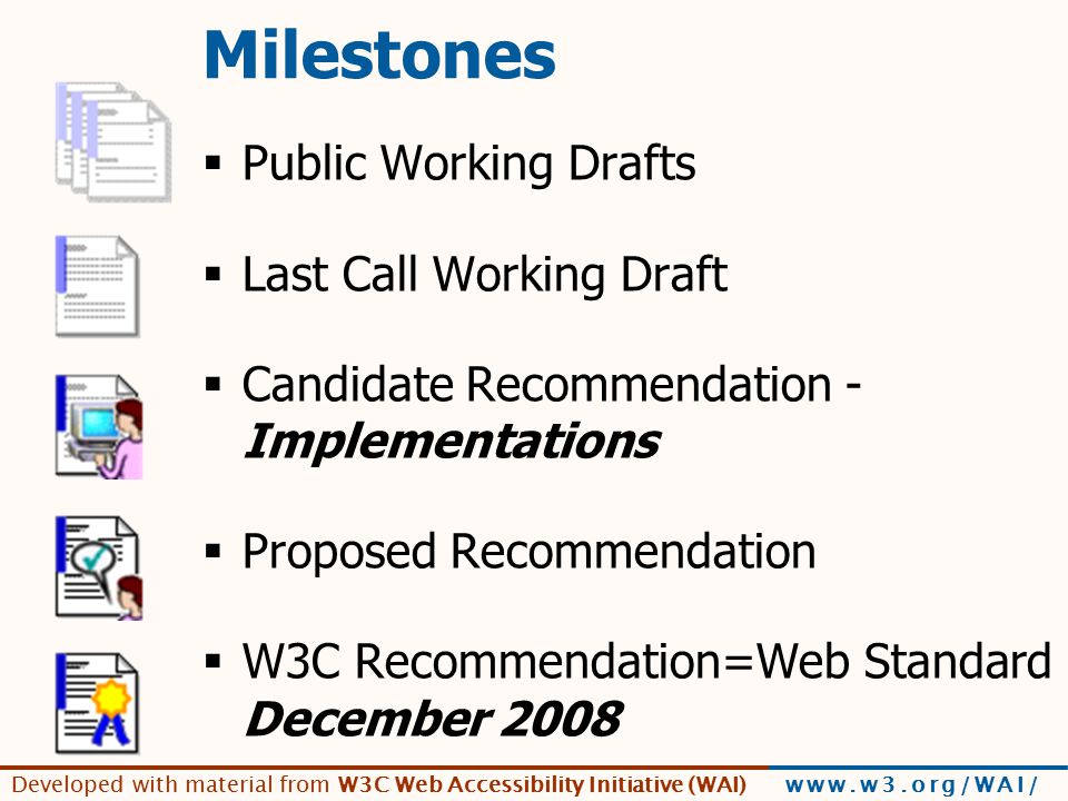 Developed with material from W3C Web Accessibility Initiative (WAI) www.w3.org/WAI/ Milestones  Public Working Drafts  Last Call Working Draft  Candidate Recommendation - Implementations  Proposed Recommendation  W3C Recommendation=Web Standard December 2008
