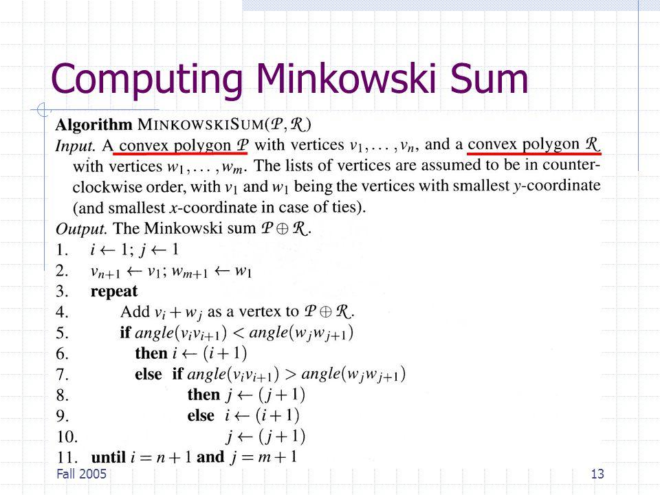 Fall 200513 Computing Minkowski Sum