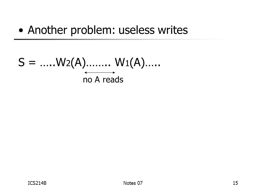ICS214BNotes 0715 Another problem: useless writes S = …..W 2 (A)…….. W 1 (A)….. no A reads