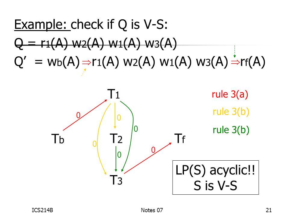 ICS214BNotes 0721 Example: check if Q is V-S: Q = r 1 (A) w 2 (A) w 1 (A) w 3 (A) Q' = w b (A) r 1 (A) w 2 (A) w 1 (A) w 3 (A) r f (A) T3T3 T2T2 T1T1 TfTf TbTb   rule 3(a) 0 0 0 0 rule 3(b) 0 0 LP(S) acyclic!.