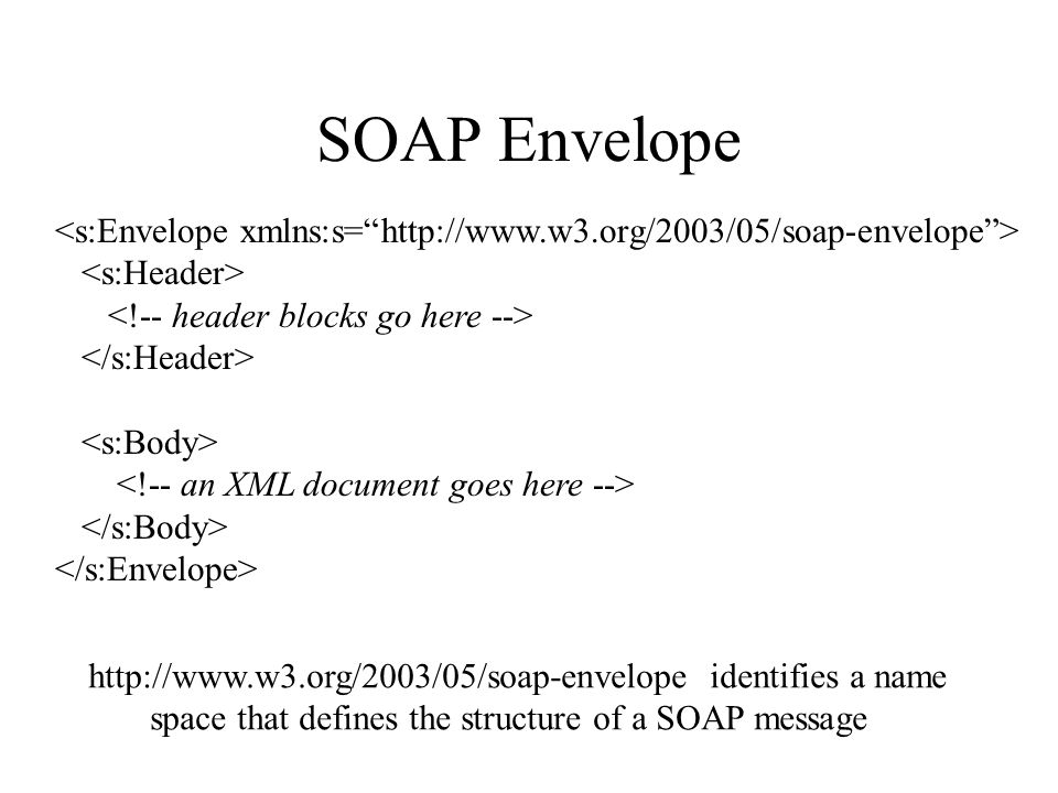 SOAP Envelope http://www.w3.org/2003/05/soap-envelope identifies a name space that defines the structure of a SOAP message