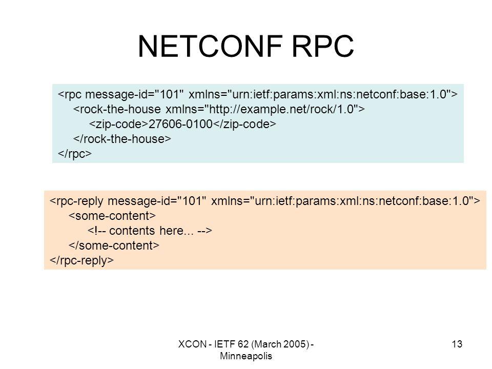 XCON - IETF 62 (March 2005) - Minneapolis 13 NETCONF RPC 27606-0100