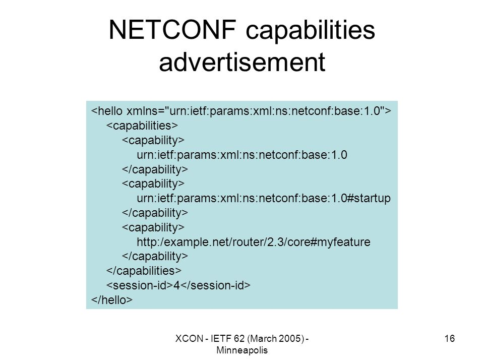 XCON - IETF 62 (March 2005) - Minneapolis 16 NETCONF capabilities advertisement urn:ietf:params:xml:ns:netconf:base:1.0 urn:ietf:params:xml:ns:netconf:base:1.0#startup http:/example.net/router/2.3/core#myfeature 4