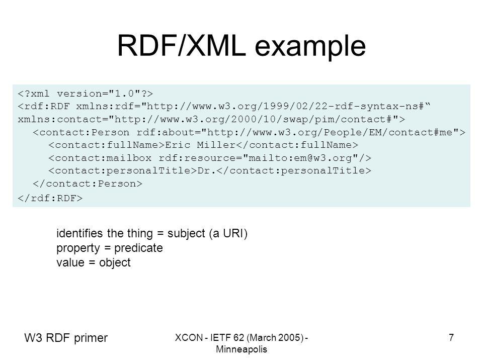 XCON - IETF 62 (March 2005) - Minneapolis 7 RDF/XML example <rdf:RDF xmlns:rdf= http://www.w3.org/1999/02/22-rdf-syntax-ns# xmlns:contact= http://www.w3.org/2000/10/swap/pim/contact# > Eric Miller Dr.
