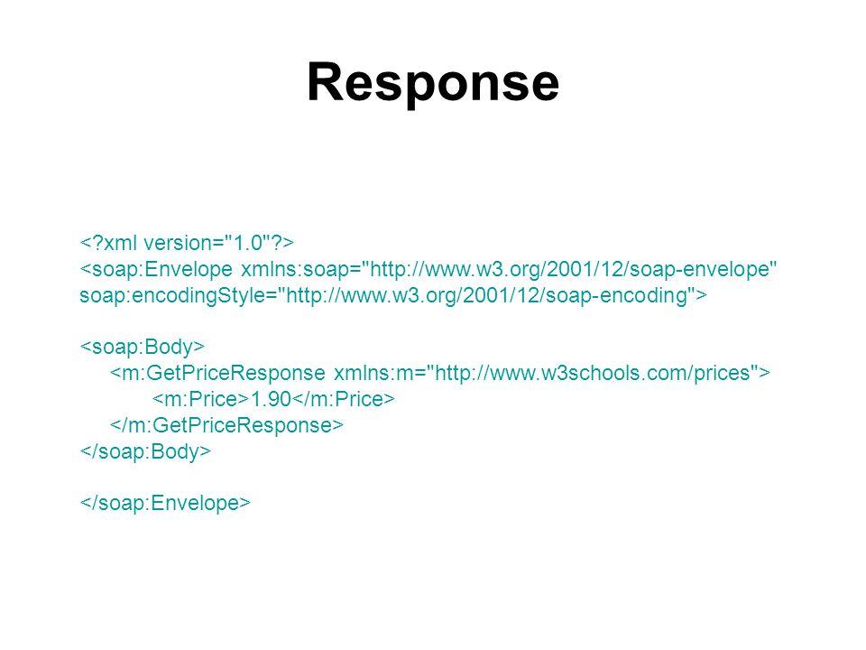 Response <soap:Envelope xmlns:soap= http://www.w3.org/2001/12/soap-envelope soap:encodingStyle= http://www.w3.org/2001/12/soap-encoding > 1.90