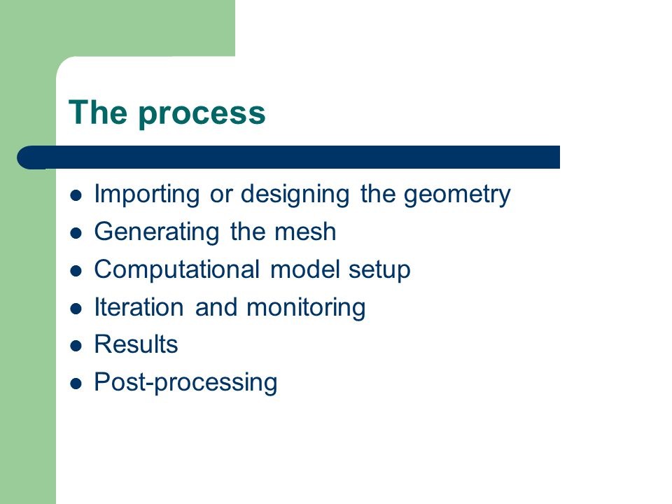 The process Importing or designing the geometry Generating the mesh Computational model setup Iteration and monitoring Results Post-processing