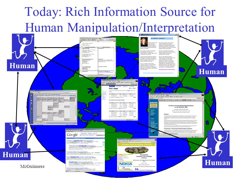 McGuinnessNSF/NCAR October 30, 2002 Today: Rich Information Source for Human Manipulation/Interpretation Human