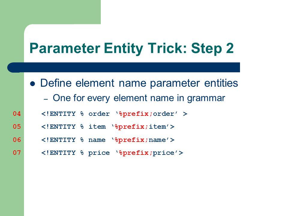 Parameter Entity Trick: Step 2 Define element name parameter entities – One for every element name in grammar 04 05 06 07