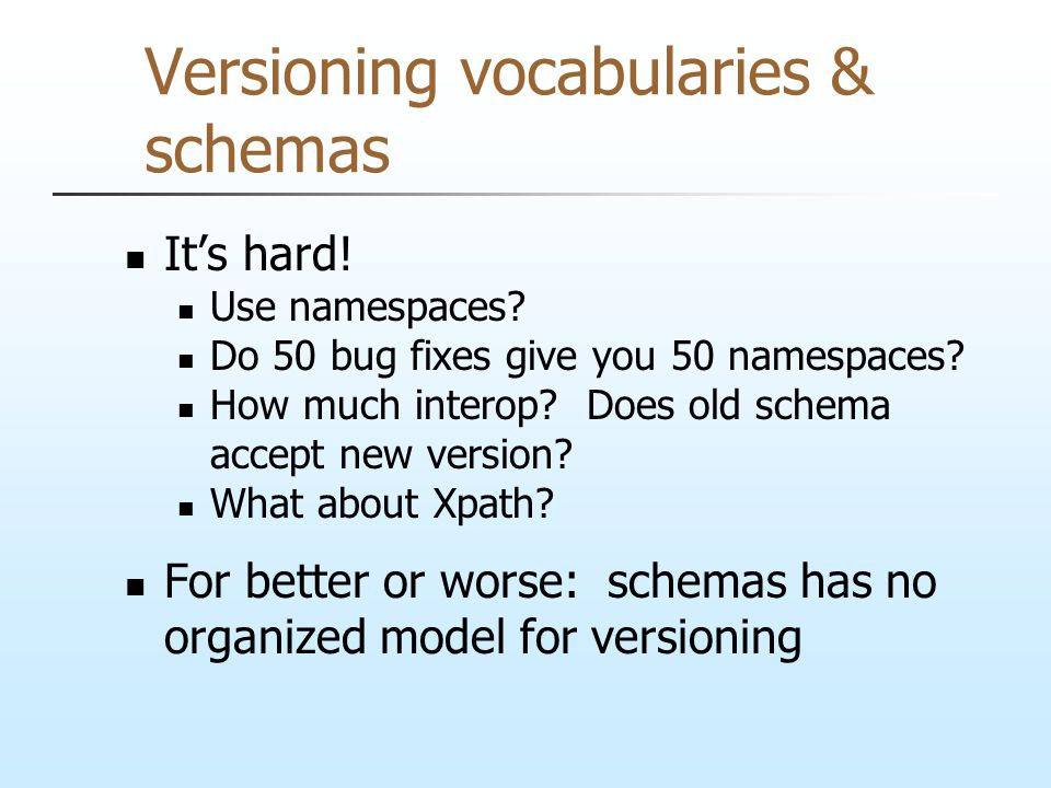 Versioning vocabularies & schemas It's hard! Use namespaces? Do 50 bug fixes give you 50 namespaces? How much interop? Does old schema accept new vers