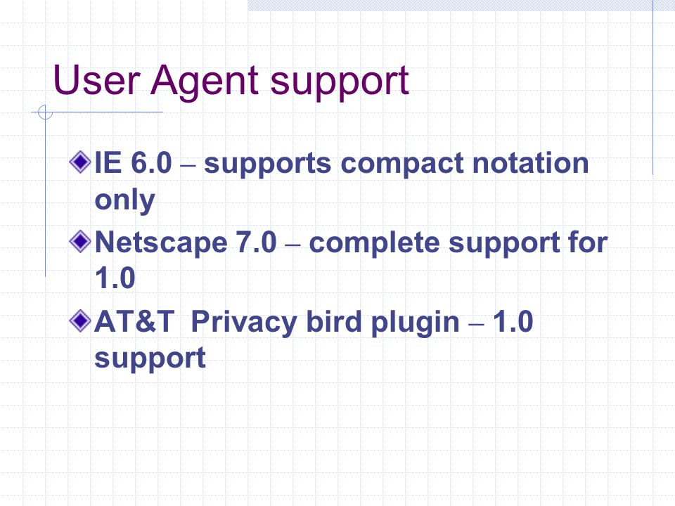 User Agent support IE 6.0 – supports compact notation only Netscape 7.0 – complete support for 1.0 AT&T Privacy bird plugin – 1.0 support