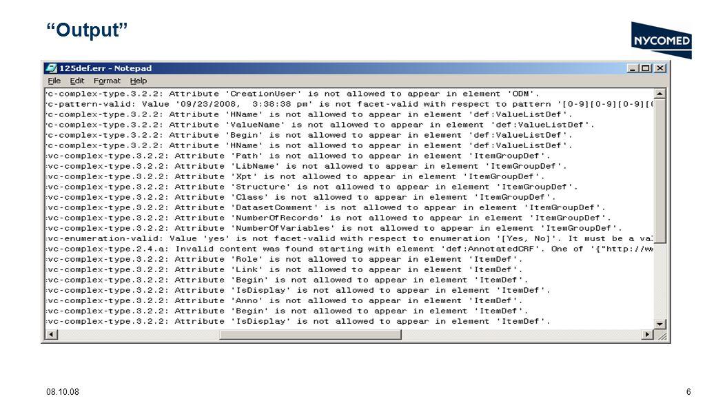 08.10.087 schema location File: defineexample1.xml xsi:schemaLocation= http://www.cdisc.org/ns/odm/v1.2 define1-0-0.xsd
