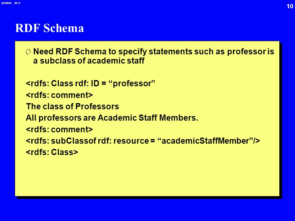 10 4/17/2015 20:12 RDF Schema 0 Need RDF Schema to specify statements such as professor is a subclass of academic staff <rdfs: Class rdf: ID = professor The class of Professors All professors are Academic Staff Members.