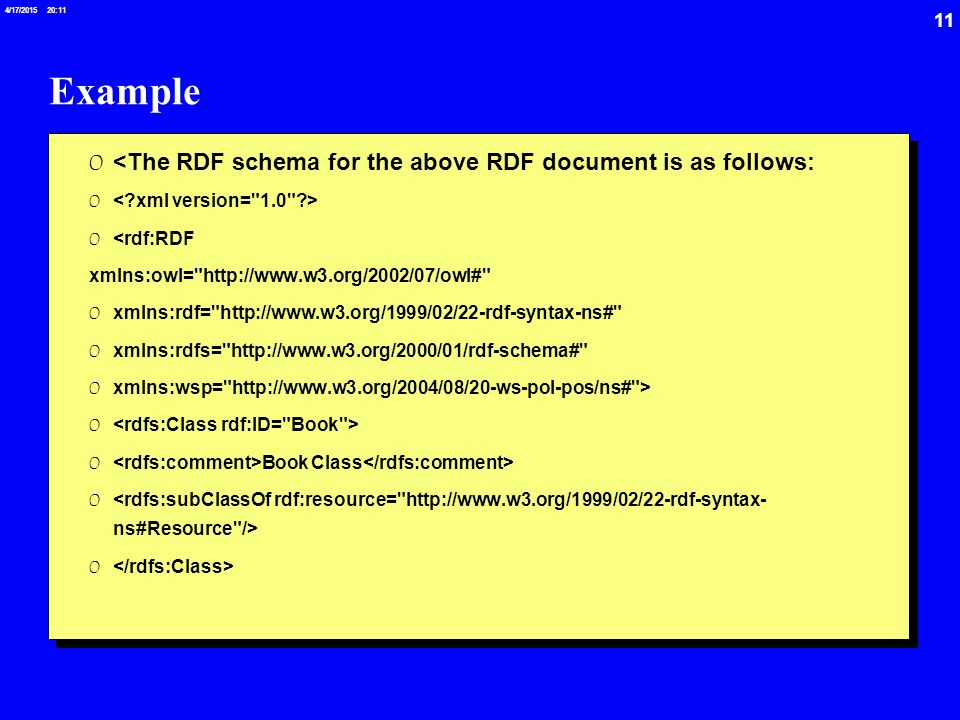 11 4/17/2015 20:12 Example 0 <The RDF schema for the above RDF document is as follows: 0 0 <rdf:RDF xmlns:owl= http://www.w3.org/2002/07/owl# 0 xmlns:rdf= http://www.w3.org/1999/02/22-rdf-syntax-ns# 0 xmlns:rdfs= http://www.w3.org/2000/01/rdf-schema# 0 xmlns:wsp= http://www.w3.org/2004/08/20-ws-pol-pos/ns# > 0 0 Book Class 0