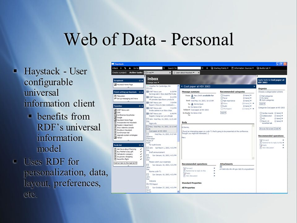 Web of Data - Personal  Haystack - User configurable universal information client  benefits from RDF's universal information model  Uses RDF for personalization, data, layout, preferences, etc.
