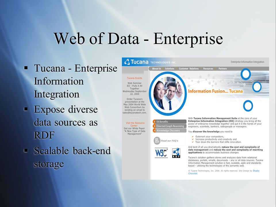 Web of Data - Enterprise  Tucana - Enterprise Information Integration  Expose diverse data sources as RDF  Scalable back-end storage  Tucana - Enterprise Information Integration  Expose diverse data sources as RDF  Scalable back-end storage