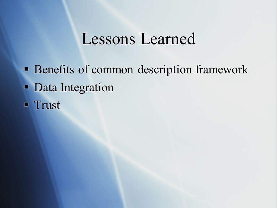 Lessons Learned  Benefits of common description framework  Data Integration  Trust  Benefits of common description framework  Data Integration 